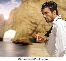 formal, hombre, en, playa