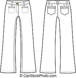 formal, moda, senhora, longo, calças