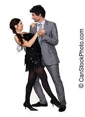 formal, par dançando, junto