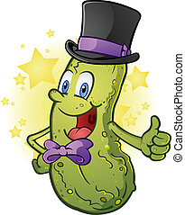 Formal Pickle Cartoon Character - A pickle man in a top hat...