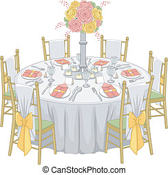 Illustration of a Formal Table Set-up at a Reception Hall