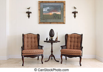 Formal sitting Room - View of a beautiful formal classic ...