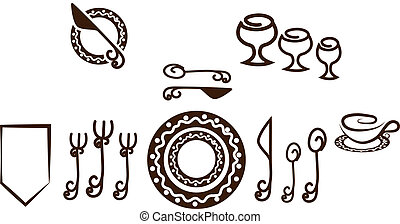 Formal Table setting placement. Artistic design tableware....