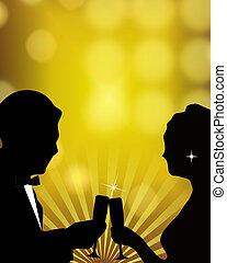 Formal Toast Illustration - Silhouette illustration of...