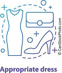 Formal wear concept icon. Appropriate dress idea thin line ...