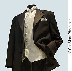 Formal wear apearal, grey silver vest with tuxedo