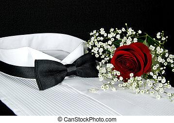 Formal Wear - Rose on a tuxedo shirt.