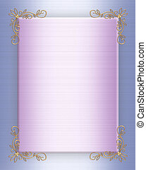 Illustration and image composition lavender, blue satin, gold corner accents for background, border, wedding invitation or template with copy space