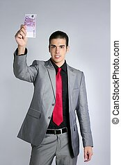 Formal young businessman portrait with 500 euro note