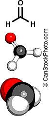 Formaldehyde (CH2O), molecular model.