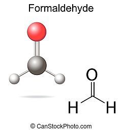 Formaldehyde model - structural chemical formula of...