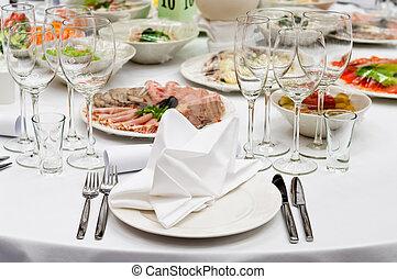 formale, cena, servizio, come, a, uno, matrimonio, banchetto
