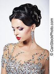 formale, festa., splendido, modella, in, cerimoniale, baluginante, vestire, con, gioielli