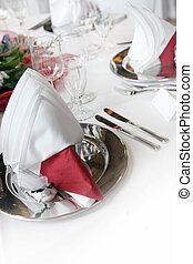 formale, tavola, rosso, decorazione, elegante