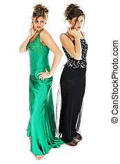 Formals - Two teen girls in formal dresses, barefoot....