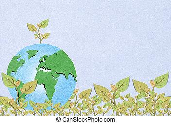formando, concept., árvore, ambiental, globo mundial