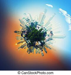 formando, edifícios, globo