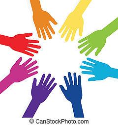 formando, forma, teamwo, coloridos, mãos