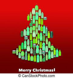 formando, garrafas, árvore natal, plástico