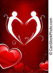 formando, par, forma, coração