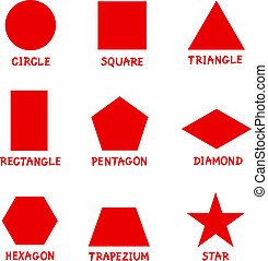formar, captions, geometrisk, grundläggande