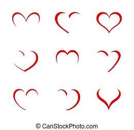 formar, hjärta, symbols.