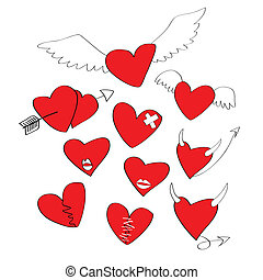 formar, hjärta, tecknad film