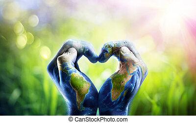 formar, human, mundo, mãos, mapa, coração, nasa, patterned, imagens, -, fornecido