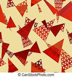 formar, mönster, geometrisk,  retro