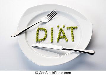 formare, piastra., parola, piselli, dieta