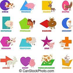 formas, animales, básico, granja, conjunto, geométrico, ...