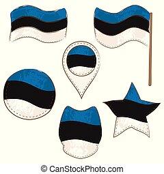 formas, bandera, defferent, estonia, realizado