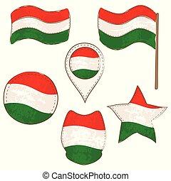 formas, bandera hungría, realizado, defferent