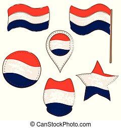formas, bandera, países bajos, realizado, defferent