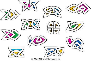 formas, celta, elementos, ornamento, estilo