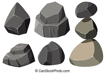 formas, cinzento, diferente, pedras