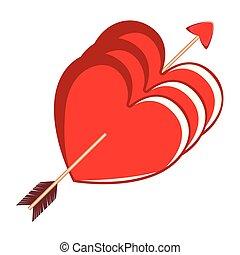 formas, coração, grupo, seta, cupid