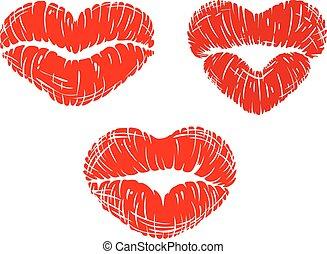 formas, coração, impressões, lábio, vermelho