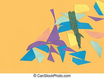 formas, corte, cartón, afuera