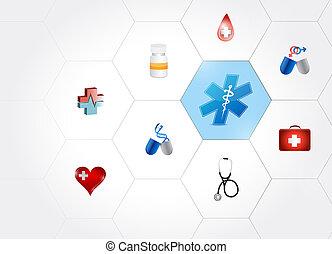 formas, diagrama, símbolo médico, rede