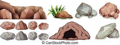 formas, diferente, caverna, pedras