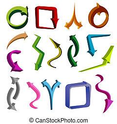 formas, diferente, setas