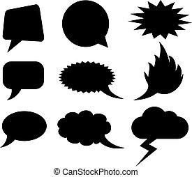 formas, fala, vetorial, nuvens