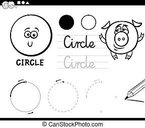 formas, geomã©´ricas, caricatura, básico