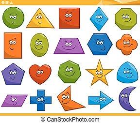formas, geométrico, caricatura, básico