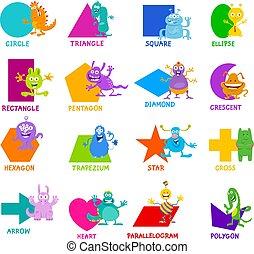 formas, geométrico, conjunto, monstruo, caracteres
