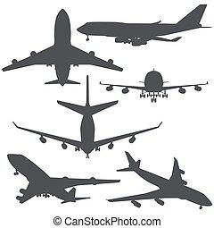 formas, jogo, pretas, avião