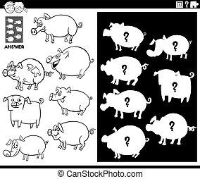 formas, juego, color, página, emparejar, cerdos, libro