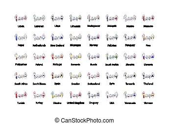 formas, mujer, conjunto, childrens, iconos, insignia, metal, soberano, grande, infographic, banderas, brillante, estados, mundo, blanco, hombre, elementos