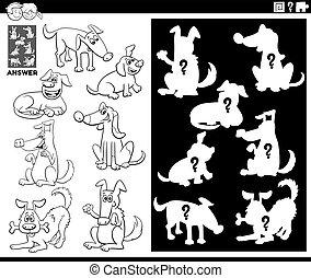 formas, perros, juego, color, emparejar, libro